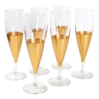 6lı Alt Kısmı Altın Renkli Şampanya Kadehi 20.5 Cm