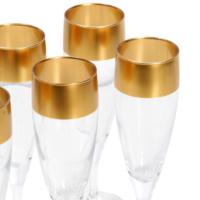 6lı Üst Kısmı Altın Renkli Şampanya Kadehi 20.5 cm