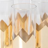 6lı Altın Kaplı Meyve Suyu Bardağı 15x7 Cm