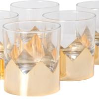 6lı Altın Kaplı Viski Bardağı 10x 8 Cm