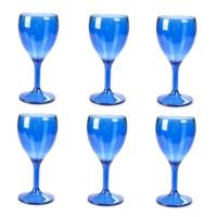 Plabar Polikarbon 6 lı Şarap Bardağı Mavi