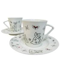 Cats by Luyano 2 Kişilik Çay Fincanı ve Tabağı