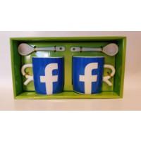 QF Sosyal Medya Kaşıklı Kupa Bardak Seti - 2