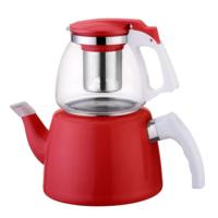 Hiper Kırmızı Cam Emaye Çaydanlık Seti