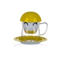 Porio Pr17-1002 - Sarı Yüz Desenli Süzgeçli Kupa