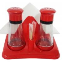 Gu-Bı Peçete Kürdan Biber Tuzluk Set ( Kırmızı )
