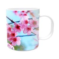 Fotografyabaskı Pembe Ağaç Çiçekleri Beyaz Kupa Bardak Baskı