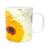 Fotografyabaskı Ay Çiçeği ve Kelebek Beyaz Kupa Bardak Baskı