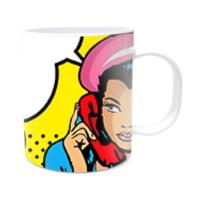 Fotografyabaskı Telefonda Konuşan Kadın Beyaz Kupa Bardak Baskı