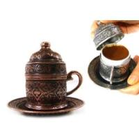Toptancı Kapında Osmanlı Motifli Kahve Fincanı - Bakır