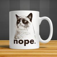 İf Dizayn Kedi Nope Baskılı Kupa Bardak