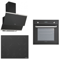 Silverline 3'lü Ankastre Set (BO6024B01 Ankastre Fırın + VC5337B01 Ankastre Ocak + Classy Siyah Davlumbaz)