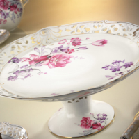 Kütahya Porselen 21101 Desen Ayaklı Kek & Pasta Tabağı