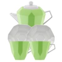 Kütahya Porselen 6 Parça Çay Seti Yeşil