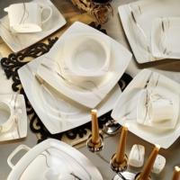 Kütahya Porselen Aliza Bone 83 Parça 60101 Desenli Yemek Takımı