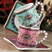 Kütahya Porselen El Yapımı Limagos Çiçekli 7608 Desen Kahve Takımı