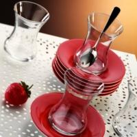 Kütahya Porselen Elegance 12 Parça Kırmızı Çay Seti