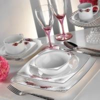 Kütahya Porselen Fileli Kare Bone 12 Kişilik 83 Parça 60107 Desenli Yemek Takımı