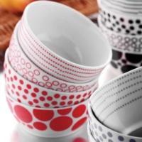 Kütahya Porselen Kırmızı Tek Kişilik 4 Parça Çerez Set