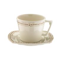 Naturaceram Dot Line Çay Fincanı Tabaklı Eskitme Krem