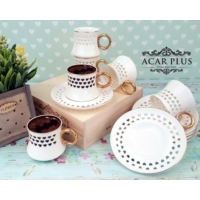 Acar Kalp Desenli 6 Lı Kahve Fincanı Takımı