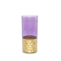 Beymen Home Khmissa Water Glass Tila Gold Violet. Mor Bardak