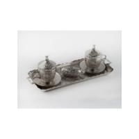 Kahveseti Osmanlı Motifli 2 Kişilik Nescafe Kahve Fincanı Seti - Gümüş Renk