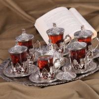 Kahveseti 6 Kişilik Tam Takım Lüks Çay Seti - Gümüş Renk