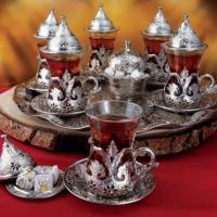 Kahveseti Osmanlı Motifli 6 Kişilik Çay Bardağı Set