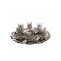 Kahveseti Yeni Lale Motifli Çay ve Şerbetlik Seti 6 Kişilik - Gümüş Renk