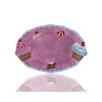 Porio M53-117 - Puantiyeli Pembe Cupcake Kayık Tabak