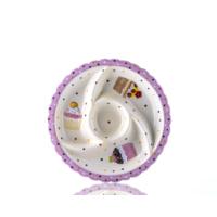 Porio M53-102 - 4 Bölmeli Puantiyeli Pembe Cupcake Tabak