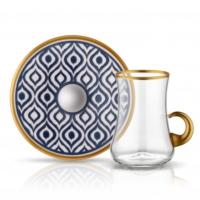Dervish Kulplu Ikat Çay Seti 6lı Antrasit