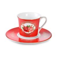 Cutechef Kitchen Porselen Kırmızı Güllü Kahve Takımı
