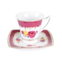 Cutechef Kitchen Porselen Maroon Kare Çay Takımı