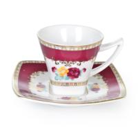 Cutechef Kitchen Porselen Maroon Kare Kahve Takımı