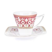 Cutechef Kitchen Porselen Osmanlı Kırmızı Kare Kahve Takımı
