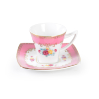 Cutechef Kitchen Porselen Pembe Kare Kahve Takımı
