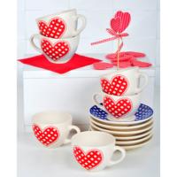 Pötikare Kırmızı 12 Parça Çay Takımı