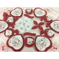 Keramika Peri Maslı Love Kırmızı Kalp Kahvaltı Takımı