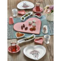 Keramika Set Kalp Pink Kahvaltı 17 Parça Beyaz Pembe