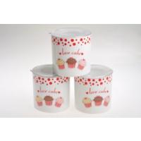 Keramika Set Saklama Kabı Ege 12 Cm 3 Parca Beyaz004-Kırmızı 506 Fruıt Cake A