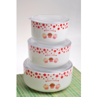 Keramika Set Saklama Kabı Kera 3 Parca Beyaz 004 Fruıt Cake A
