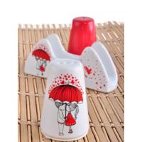 Keramika Set Tuzluk Bıberlık Ada Pecetelık Platın 3 Parca Beyaz 004-Kırmızı 506 Red Love Keramıra A