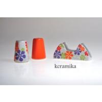 Keramika Set Tuzluk Bıberlık Assos Pecetelık Platın 3 Parca Beyaz 004-Turuncu 200 Renklı Trend A