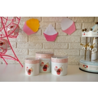 Keramika Set Saklama Kabı 10-10-12 Cm 3 Parca Beyaz 004 Pınk Cake A