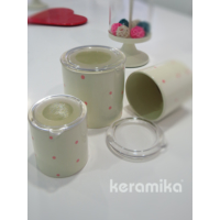 Keramika Set Saklama Kabı 10-10-12 Cm 3 Parca Krem 032 Drops Puantıye 550 Pembe A