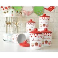 Keramika Takım Baharat Kosem 8 Cm 10 Parca Beyaz004-Kırmızı 506 Fruıt Cake A