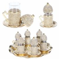 Acar Swarovski Taşlı 6 Kişilik Çay Seti (Tepsi ve Şekerlik Hediye) Gold