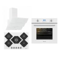Ferre New White Pruza Ankastre Set (7001 Beyaz Ankastre Fırın + KA-013 5 Gözü Gazlı Beyaz Cam Ankastre Ocak + B SPR-600 Beyaz Dekoratif Cam Davlumbaz)